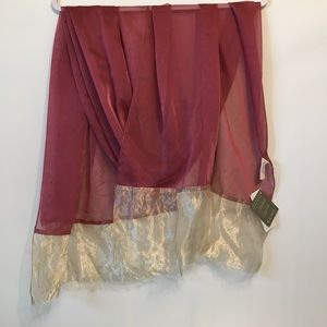 Echo Red & Gild Sheer Shimmery Wrap Scarf